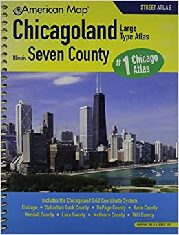 American Map 616776 Chicagoland Il Seven County Street Atlas Large Type 0027793616775 Amazon Com Books