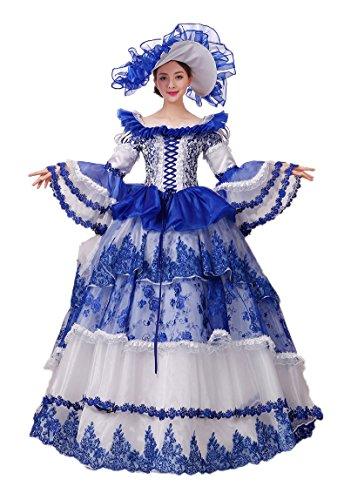 Zukzi Women's Gothic Victorian Lolita Masquerade Dresses Ball Gowns, US 18, Y002 Blue ()