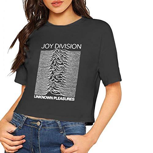 MONIKAL Womens Summer Crop Top Joy-Division-Unknown-Pleasures Cotton Casual Short Sleeve T-Shirt Black