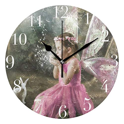 NMCEO Round Wall Clock Beauty Cute Girl Acrylic Original Clock for Home Decor Creative
