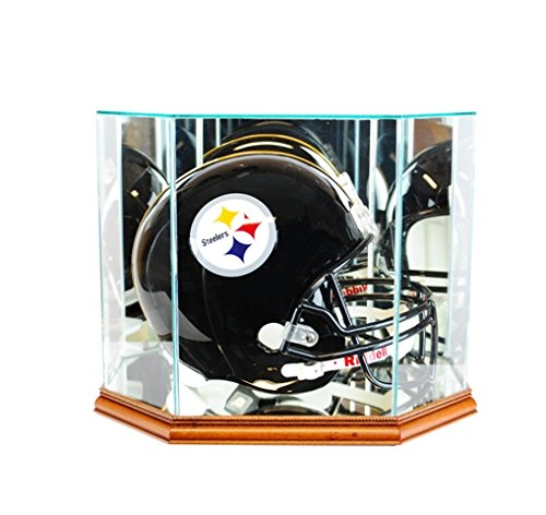 Perfect Cases FBHO-W Octagon Full Size Football Helmet Display Case, Walnut