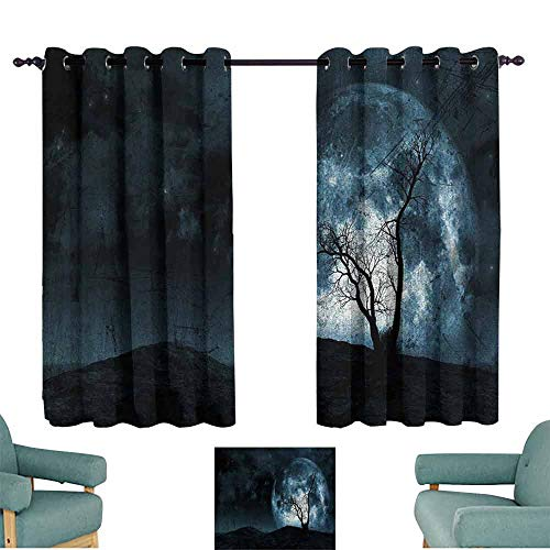 HCCJLCKS Simple Curtain Fantasy Night Moon Sky with Tree Silhouette Gothic Halloween Colors Scary Artsy Background Blackout Draperies for Bedroom Window W55 xL63 Slate -