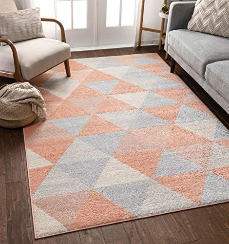 Well Woven Isometry Pink Modern Geometric Triangle Pattern 8x11 (7'10