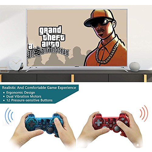 Wireless PS2 Dual Vibration Controller for Sony Playstation 2 (Red-Blue)
