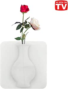 As Seen on TV Magic Vase for Decoration. Reusable Silicone Self-Sticking Pot on Any Smooth Surfaces Such as Fridge Door, Glass Window, CeramicTile. Perfect for Artificial Plants and Flowers. (White)