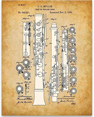 Oboe Patent - 11x14 Unframed Patent - Perfect Music Room Decor and Great Gift Under $15 for Band Director, Musician ()