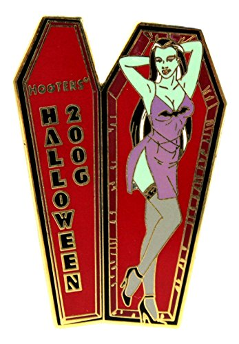 Hooters Restaurant Halloween Green Girl in Coffin Bats Lapel Pin ()
