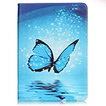 SZYT Tablet Case for Samsung Galaxy Tab E, 9.6 inch, with Card Slot Blue Butterfly