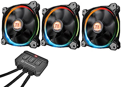 Thermaltake Riing 12 LED - Pack de 3 Ventiladores, Color Negro ...