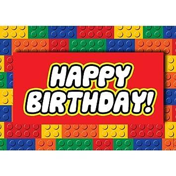 Cartel de feliz cumpleaños de bloques - A3: Amazon.es ...