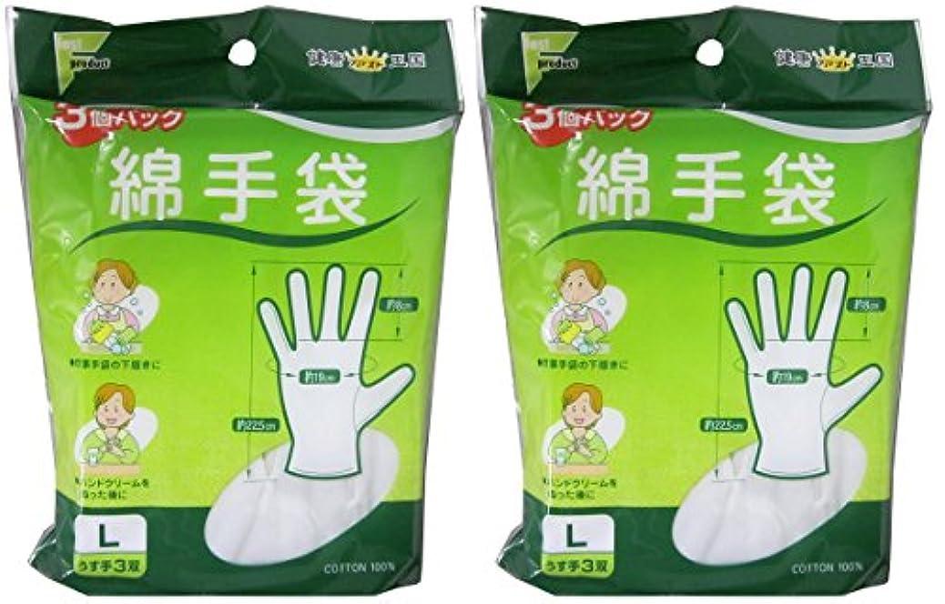 負荷累計耳ファスト綿手袋 Lサイズ 3双 L3双【2個セット】