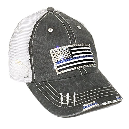 Cap Cotton Swarovski (Thin Blue Line Flag Baseball Cap for Women Fitted Mesh Trucker Swarovski Bling)