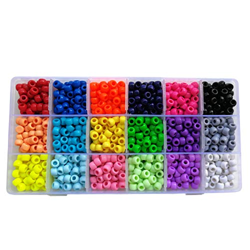 Colored Beads - The Beadery Giant Crayon Bead Box, Pony Beads with Smooth Surface Craft Assortment Colors (6X 9mm/18colors/1800 Beads)