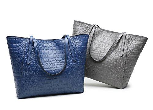 borse cuoio Borse di Grigio coccodrillo dell'unità del in elaborazione lusso di donne e delle pelle grigio di SwzSrqHnpP