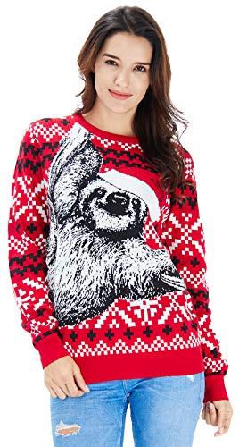 RAISEVERN Roter Weihnachtspullover Sweater mit Lazy Sloth Grafik Langarmshirts für Jugend
