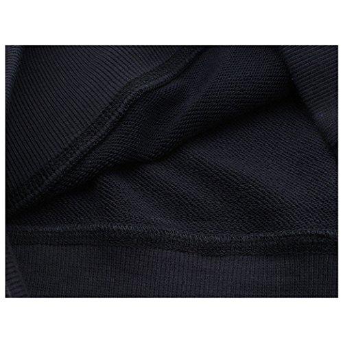 Yeesea Mujers con Capucha del Suéter Camisa Corta Otoño Camisetas De Manga Larga Sudaderas Crop Tops Negro