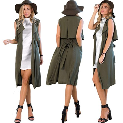 Eshion+Women%27s+Sleeveless+Turn+Down+Collar+Long+Trench+Coat+Top+Vest
