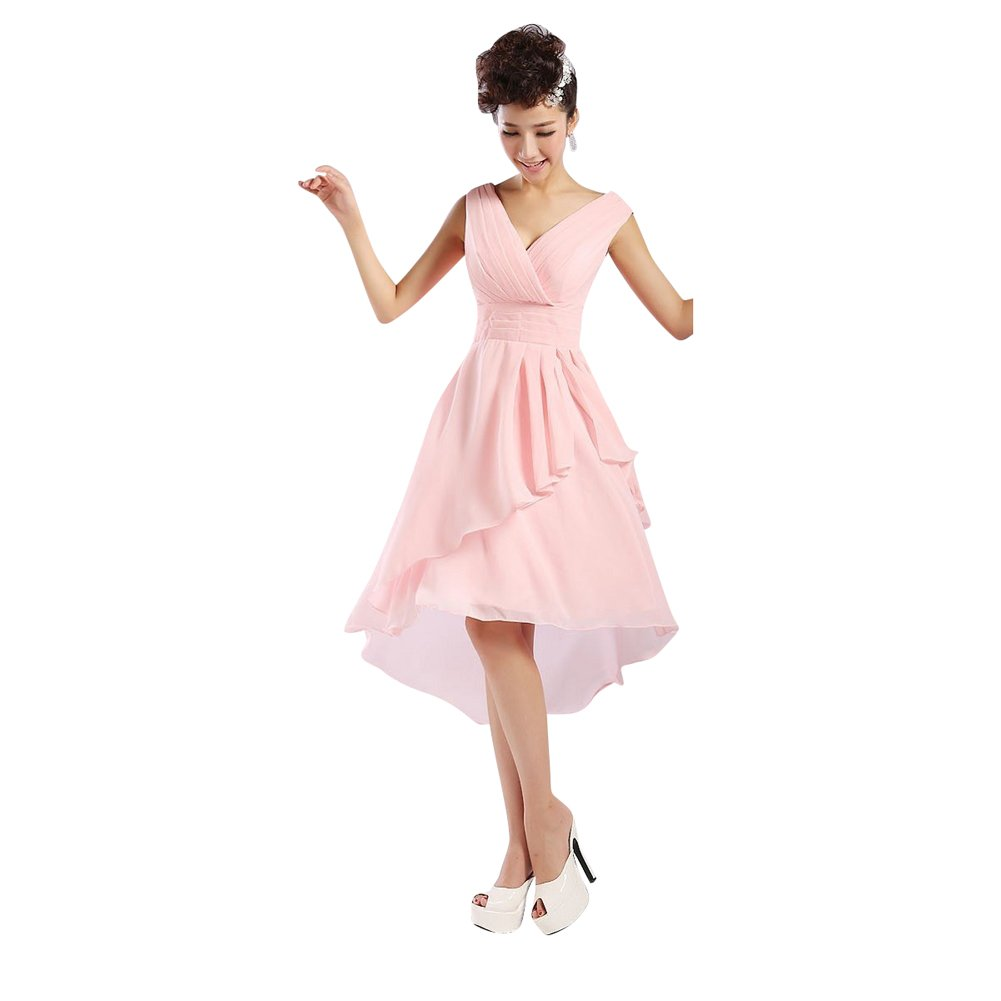 Mollybridal Womens Chiffon V Neck High Low Bridesmaid Prom Dresses Pink 16: Amazon.co.uk: Clothing