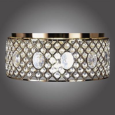 MonaLisa Gallery Golden Crystal Chandeliers Flush Mount Ceilling Pendant Light Fixture SML-171-G W15xH10G
