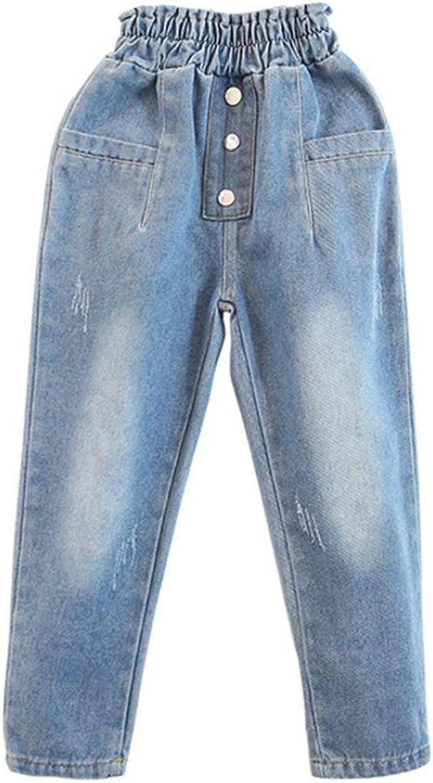 nobrand Pantaloni in Denim per Bambini Pantaloni da Bambina per Bambini Casual Jeans per Adolescenti Staccabili Pantaloni per Pagliaccetti Pantaloni con Cinturino per Bambini Allentati