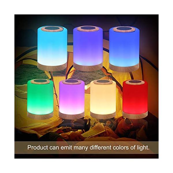 TAIPOW Lampe de Chevet LED Touch Portable avec Enceinte Bluetooth, Veilleuse Multicolore Disco Light Lecture de MP3 Support TF AUX-IN USB Rechargeable, Cadeau pour Adulte Ados Enfants Bébé 4