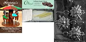 Cybrtrayd Bowling Lolly Chocolate Mold with Chocolatier's Bundle, Includes 25 Lollipop Sticks, 25 Cello Bags, 25 Gold Twist Ties and Chocolatier's Guide
