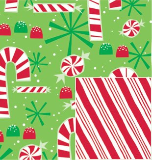 amazon com contempo candy canes reversible 24 x 15 gift wrapping