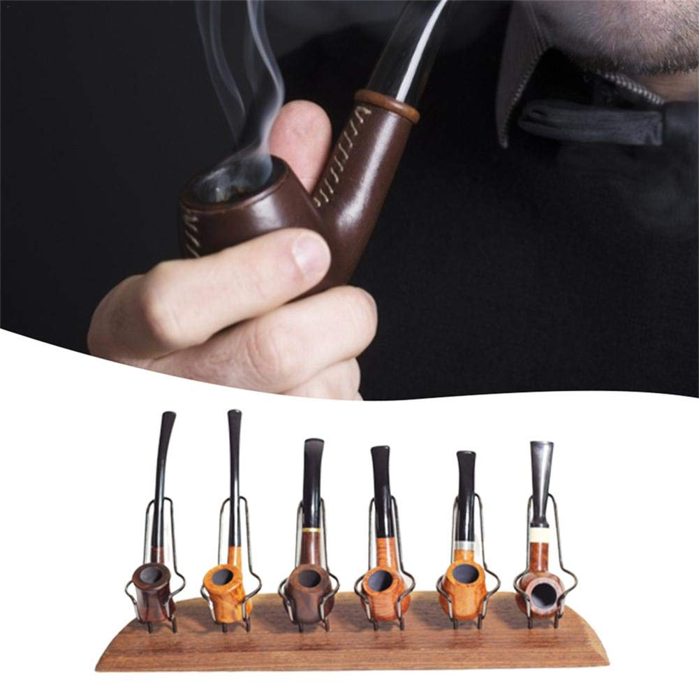 Tobacco Pipe Stand, Iron Frame Pipe Rack Display Holder for 6 Smoking Pipe, Chicken Wing Wooden Base, Handmade by Window-pick