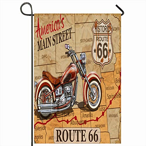 Ahawoso Outdoor Garden Flag 12x18 Inches Highway Car Map Vintage Route 66 Motorcycle Sports Texas Recreation Retro Arizona Road USA Motorway Home Decor Seasonal Double Sides House Yard Sign Banner