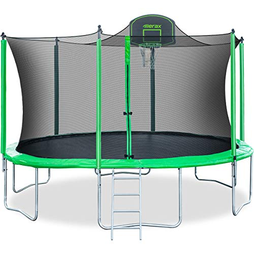 Merax 14 FT Round Trampoline with Safety Enclosure, Basketball Hoop and Ladder (Upgraded with PVC Pad + Ball Stop Net)