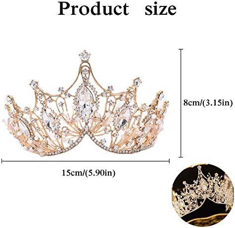 Cerchietto per Capelli in Stile Barocco Diademi di Cristallo Corona di Strass Fascia delle Regina Corona Principessa Sposa per Donne e Ragazze - Dorata