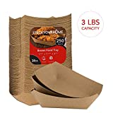 Paper Food Boats (250 Pack) Disposable Brown Tray - Eco Friendly Brown Paper Food Trays - Serving Boats for Concession Stand Food, 3 Lb