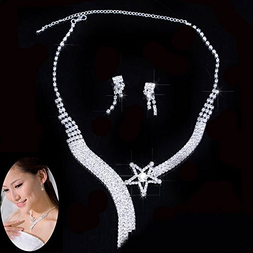 HeroNeo Wedding Crystal Rhinestone Necklace