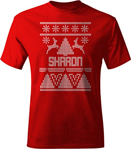 SHARON Ugly Sweater Christmas Holiday Adult Unisex Tee Shirt Men's Large Red - Rd Sharon