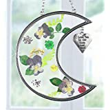I Love You to the Moon and Back Suncatcher with Real Pressed Flowers in Glass and Silver Metal Heart Shaped Engraved Charm - Gift for a Loved One Wife Girlfriend Fiance