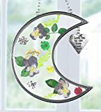 #9: I Love You to the Moon and Back Suncatcher with Real Pressed Flowers in Glass and Silver Metal Heart Shaped Engraved Charm - Gift for a Loved One Wife Girlfriend Fiance