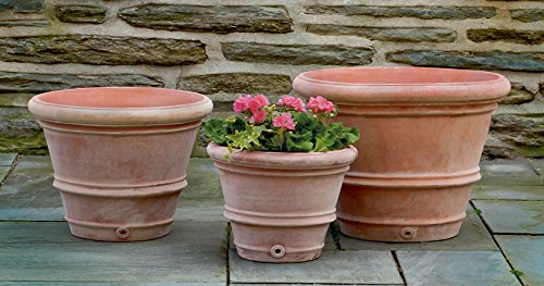 Campania International 8359-2403 Classic Rolled Rim Planter, Terra Cotta Finish
