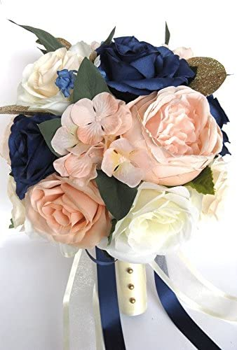 Amazon Com 17 Piece Wedding Bouquet Package Bridal Bouquets Artificial Silk Flowers Peach Blush Navy Blue Cream Gold Flower Bouquet Rosesanddreams Home Kitchen