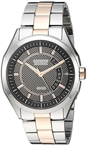 Drive from Citizen Eco-Drive Men's Silver/Rose Gold-Tone Watch with Date, - Tone Watch Mens Citizen Bracelet Two