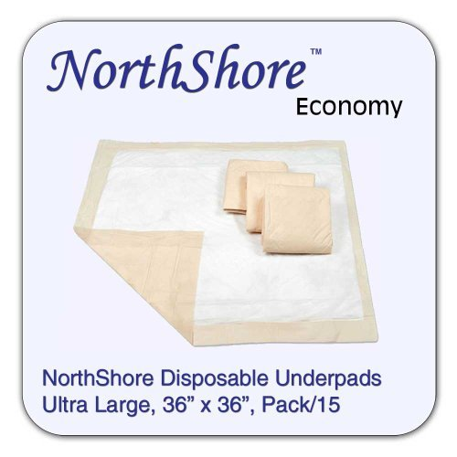 NorthShore Economy Blue Disposable Underpads (Chux), Beige, 36x36, Pack/15