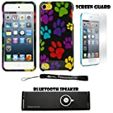 Colorful Dog Paws 2 piece Cover Shield Protector Case For Apple iPod Touch 5 ( 5th Generation) 32GB, 64GB + Anti Glare Screen Protector Guard + Supertooth Disco Bluetooth Speaker with AUX Cable + an eBigValue Determination Hand Strap
