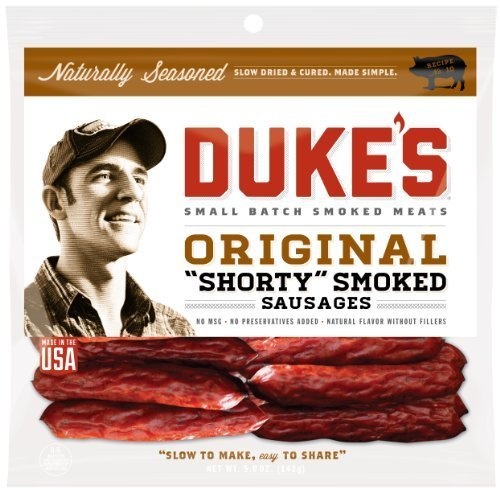 "Duke's Original ""Shorty"" Smoked Sausage, Jerky 5 oz (Pack of 4) - Packaging May Vary"