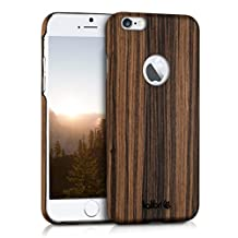 kalibri wooden case cover for Apple iPhone 6 / 6S - mobile phone cover protective case made of real wood and plastic from basswood in brown