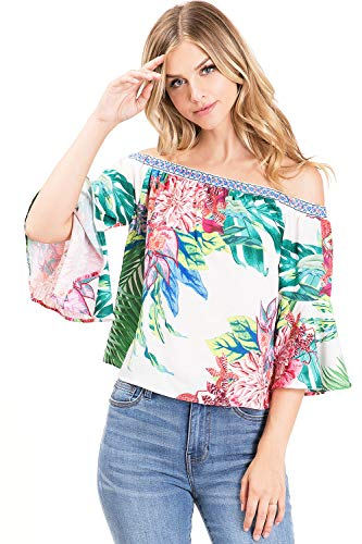 Flying Tomato Women's Juniors Bell Sleeve Floral Print Top (S, Bright Ivory) (Flying Tomato Blouse)