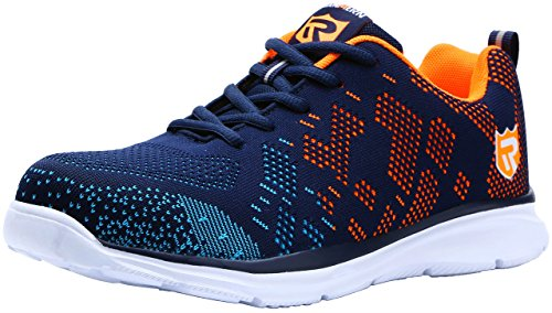 LARNMERN Men's Steel Toe Shoes, LM-1812 Flyknit Ultra Lightweight Breathable Reflective Safety Work Shoes (11.5, Blue)