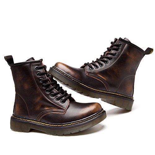 Femme Impermeables boots Lacets classiques marron Ukstore Martin Plates Botte Bottes homme Doublure Hiver Chaussures Fourrées Chaudes bottines Cuir Sans 5U7wUAZqnv