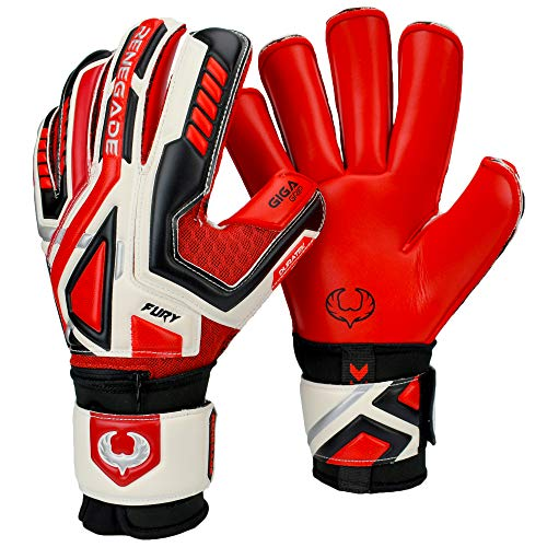 Soccer Goalkeeper Equipment - Renegade GK Fury Inferno Roll Cut Level 4 Youth & Adult Goalie Gloves with Finger Savers (Pro-Tek) (Size 8) - Youth Soccer Gloves Kids - White, Black, Silver, Red Goalkeeper Gloves