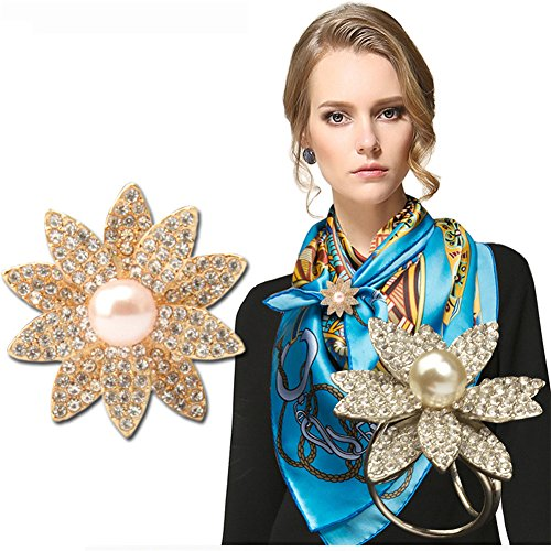 2 Pack Women's Elegant Imitation-pearls Crystal Rhinestone Scarf Ring Buckle Clip by SIYWINA