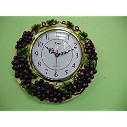 3D Grape wall clock Home Kitchen hand painted