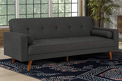 Fabric Living Room Bed - DHP Sunset Hills FutonMid Century Design with Tufted Back and SeatConverts to SleeperGrey Linen, Gray